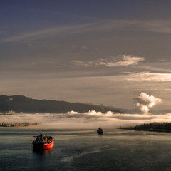 Fog Over the Narrows (ecstaticist) Tags: sky cloud mist canada game water fog vancouver photoshop sunrise square dawn harbor early marine ship harbour games columbia explore british olympics shipping frontpage narrow tone hdr province narrows daybreak 2010 mapped plume helijet photomatix tonemapped tonemapping