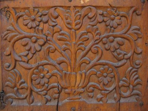 carved wood door - detail