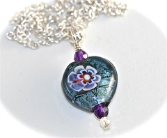 Smokey Glass Heart Necklace (DJAjewels) Tags: necklace heart jewelry lampwork sterlingsilver millifiori