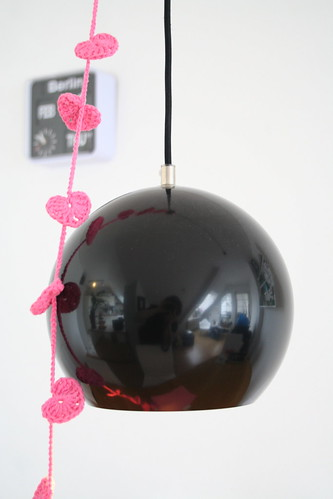 "heart garland on Panton ""Topan"" pendant light"