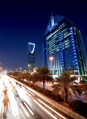 Riyadh Sunset (Rami ) Tags: street blue trees sunset cars colors buildings lens lights palm testing saudi arabia tamron riyadh  ksa            1024mm