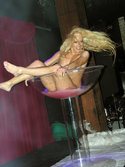 Martini minx 2 (Roving I) Tags: lasvegas blondes events sydney longhair parties australia entertainment barefeet nudity performers promotions raunchy wetandwild giantwineglasses