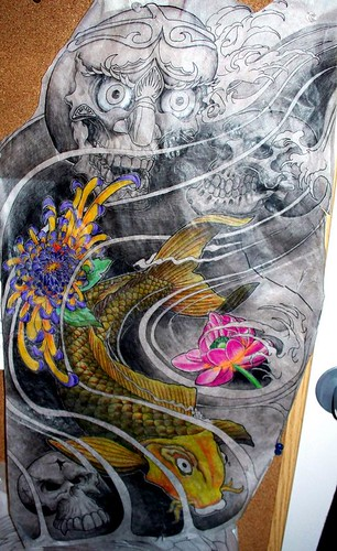 koi fish drawing. Oriental Skull lotus and koi.