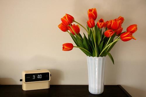 tulips, clock