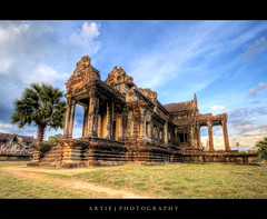 The Library of Angkor Wat, Siem Reap, Cambodia :: HDR (Artie | Photography :: I'm a lazy boy :)) Tags: building classic stone architecture stairs photoshop canon temple ancient sandstone cambodia khmer state cs2 library tripod steps wideangle angkorwat structure 1020mm siemreap pillars hdr artie angkorvat 12thcentury 3xp sigmalens photomatix tonemapping tonemap 400d rebelxti suryavaman