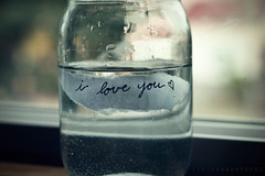 I Love You (Sarah Ching) Tags: wood blue macro love window water paper outside one three droplets focus tears hand heart fuzzy bokeh small ripped large bubbles h2o clear oxygen prints torn iloveyou medium float pour selling liquid jars pints stopmotion tints explored sellingprints tumblr