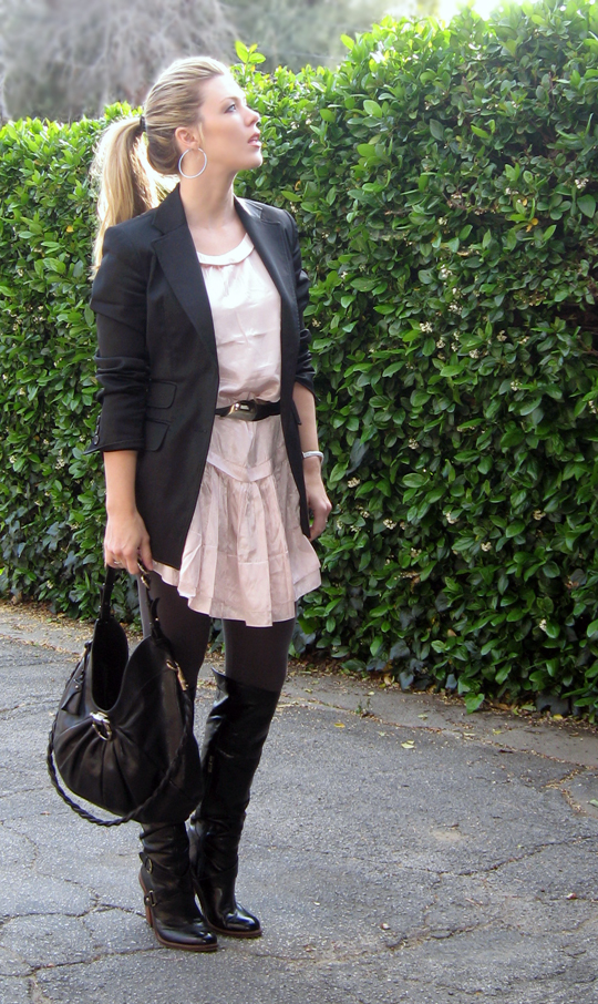 pink dress black blazer, Salvatore Ferragamo black leather handbag, purse, leggings and boots