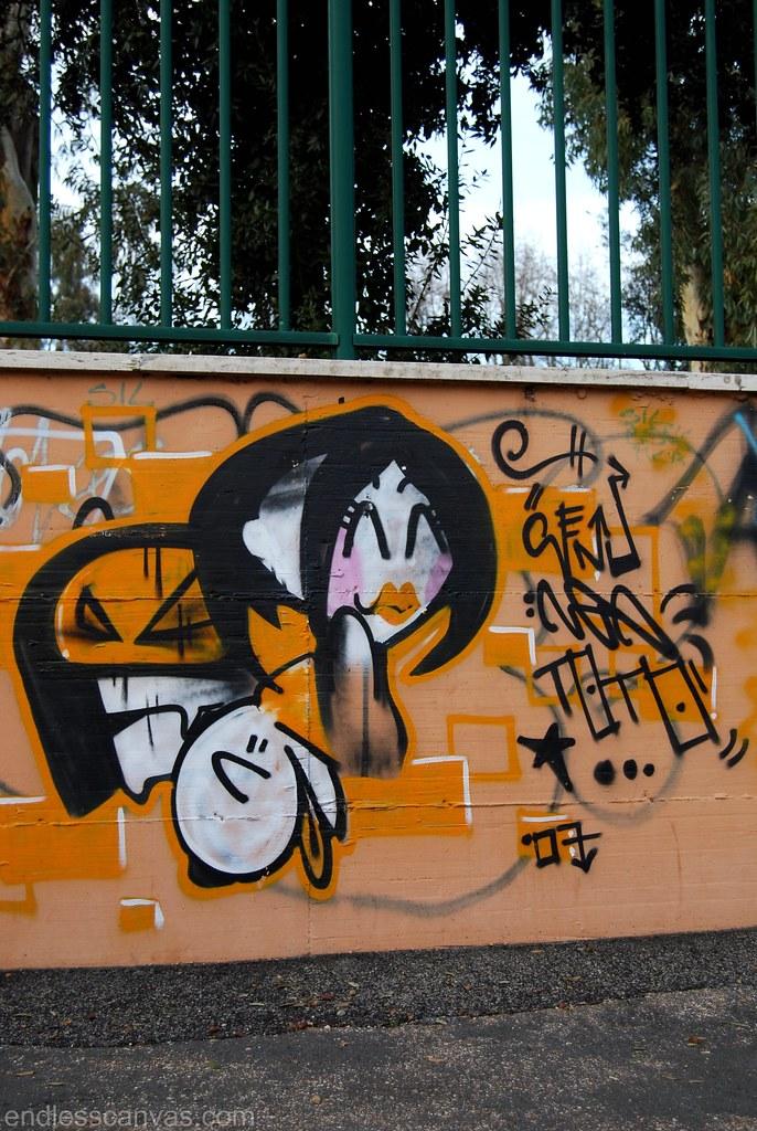 Graffiti Street Art Rome Italy.