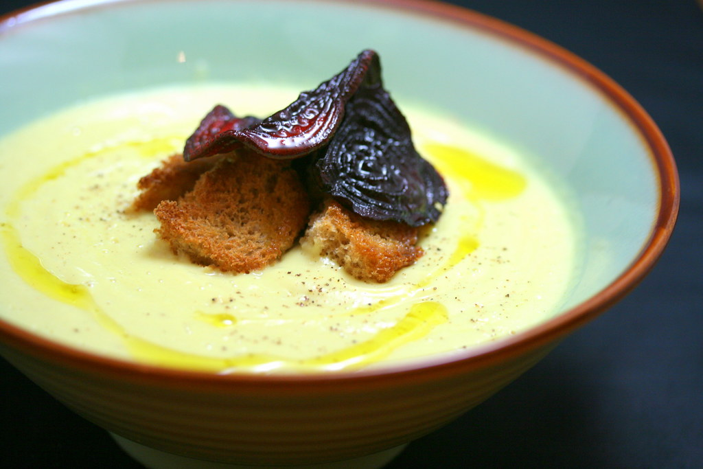 Cauliflower Soup with Red Beet Chips | Z Tasty Life