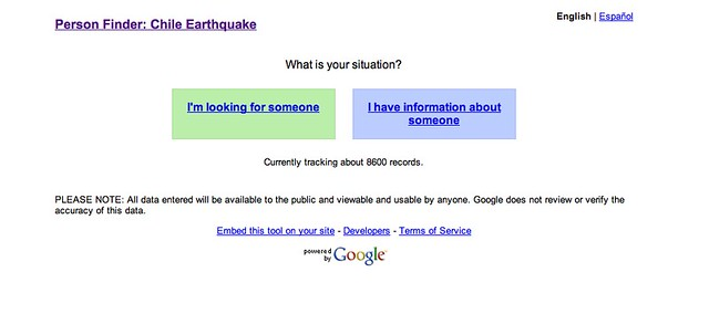 Cool Toys pics of the day Tsunamis amp Earthquakes Chile People Finder by rosefirerising