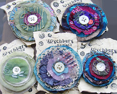 Recycled Embroidered Brooches (Wychbury Designs) Tags: uk england recycled handmade buttons circles pins fabric accessories etsy embroidered beaded brooches folksy wychbury