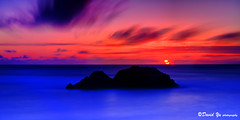 Blue and Red (davidyuweb) Tags: blue sunset red sky cliff house mist water wave study baths area sutro mywinners peregrino27newvision