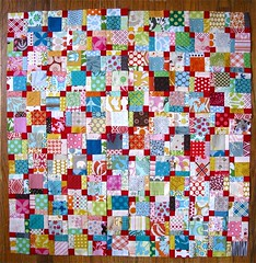 { scrap explosion ii } ({ philistine made }) Tags: quilt sewing quilting patchwork scrappy insanely disappearing9patch scrapsblocks