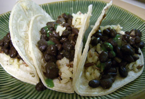 Bean and Rice Tacos on Toasted Corn Tortillas