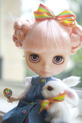 to share or not to share ... (JennWrenn) Tags: bunny window doll blythe lollipop pinkhair mim stellasavannah