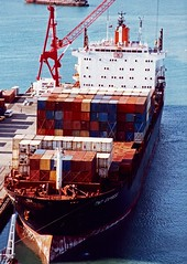 Container Ship loading Napier New Zealand 1991