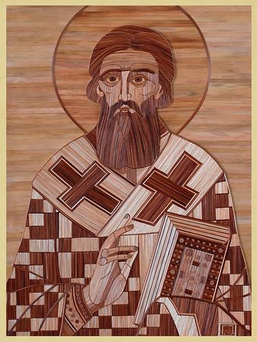 Sveti Sava. Slike ikona od ražene slame Gradimira Jovanovica.