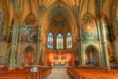 The Nave of St. John The Baptist Cathedral (tjs1963 (Terri)) Tags: color canon georgia cathedral stainedglass altar nave catholicchurch savannah marble pews hdr sanctuary photomatixpro stjohnthebaptistcathedral photographyworkshop canonxs canon1000d bearwoodsphotography wwwbearwoodsphotographycom bearwoodsphotographycom