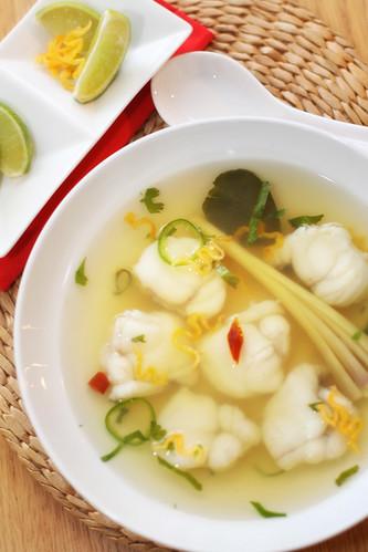 Thai style monkfish soup