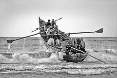 India - Kerala, Kovalam (luca marella) Tags: travel sea people bw india white black beach boat asia fishermen kerala pb bn e rowing bianco nero 黑白 kovalam और marellaluca काला सफेद