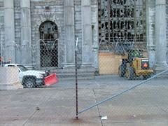 Repairing the gate the boarded up entrance @ Michigan Central Station (mcsdetroitfriend) Tags: train mit detroit repair depot expert vaults corktown ambassadorbridge michigancentralstation guastavino