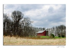 Hillside Red Barn (Lyle C) Tags: county old red barn rural print landscape march countryside spring cloudy farm country barns indiana silo weathered bartholomew countryroadsphoto lylecanterbury tokina1116mmf28