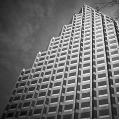 stepping (Will Montague) Tags: blackandwhite bw building tower monochrome lines architecture austin square nikon texas angles soe montague d90 willmontague