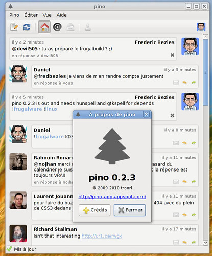 Pino 0.2.3 en français sous Frugalware Linux