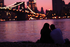 New York City Love ({peace&love}) Tags: new york city nyc sun lake water set skyline brooklyn lights couple pretty sweet bokeh manhattan dumbo learning shoulder brigde pinkparis1233