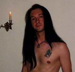 DSCF1574_1 (Sarkisian) Tags: gay boy shirtless guy tattoo self longhair longhaired