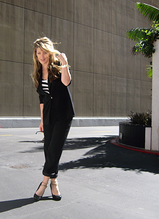 black suit striped shirt ankle chains -2 -sh