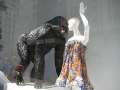 Fashion Gorilla window display at Bergdorf Goodman 7558 (Brechtbug) Tags: new york city nyc window fashion store gorilla display avenue 5th department bergdorf goodman 432010