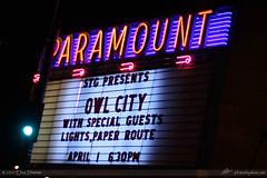 Owl City marquee at the Paramount by Elisa Sherman | photosbyelisa.com