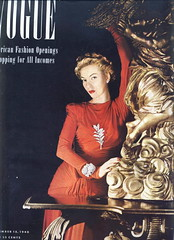 Vogue, September 15, 1940 (Silverbluestar) Tags: ladies girls red color beautiful beauty fashion vintage magazine glamour women pretty dress 1940 womens vogue 1940s cover blonde elegance
