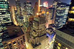 Renee's View II, Midtown Manhattan at Night, New York City (andrew c mace) Tags: city nyc longexposure roof newyork rooftop skyline night cityscape manhattan broadway rockefellercenter tokina1224 midtown timessquare newyorkatnight gebuilding dreamhotel nikoncapturenx nikond90