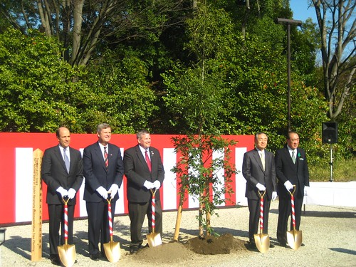 Secretary Vilsack (second from the left) joined (l-r) U.S. Ambassador Roos, Iowa Governor Bill Northey, Yamanashi Governor Shomei Yokouchi, and the Speaker of the Yamanashi Diet to plant an oak tree—Iowa's official state tree—on the grounds of the Yamanashi Prefectural Museum of Art to recognize the longstanding friendship between the two states and countries.