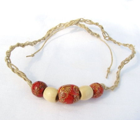 Firebird - red and tan hemp bracelet/anklet