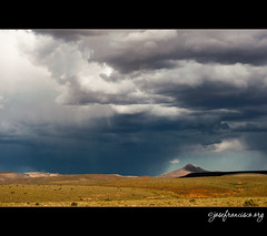 Rain in the distance (josefrancisco.salgado) Tags: africa sky cloud rain clouds southafrica lluvia nikon cielo nubes nikkor sutherland za nube d3 movingvehicle northerncape thekaroo 2470mmf28g