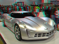 Corvette Stingray Concept (Anaglyph 3D) (patrick.swinnea) Tags: auto car stereoscopic stereophoto 3d anaglyph vehicle concept 2010 corvettestingray denverautoshow