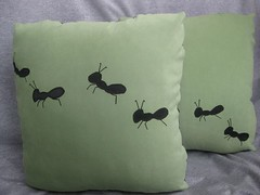 The Ants Go Marching Pillows (pabrika) Tags: toronto black green insect grey handmade housewares pillow cover charcoal ants marching etsy pillowcase cushion throw microsuede pabrika pabrikaetsycom
