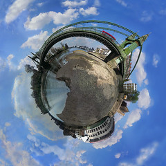 Hammersmith Bridge, London 360 circular panorama (Eye of Qvox) Tags: panorama london hammersmith riverthames circular hammersmithbridge 360 360degree 360degreepanorama miniplanet circularpanorama
