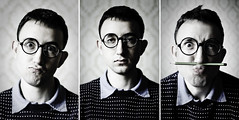 Slightly different passport photo (Karol Kalinowski) Tags: portrait 35mm glasses funny triptych nikkor d300 35mmf18 3518 primelense rembrandtlight 35mm18 nikond300 karolgrafik