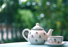 Tea Time (Dada Mar) Tags: sun green cup fence relax 50mm spring dof tea bokeh terrace explore teapot hbw