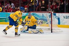 Backstrom goes Top Shelf (Arian Durst) Tags: canada hockey vancouver goal sweden britishcolumbia icehockey warmups gmplace backhand topshelf winterolympics henriklundqvist 2010wintergames nicklasbackstrom canadahockeyplace