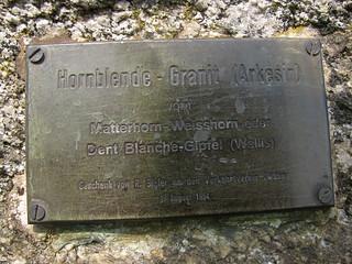 Findling / Erratiker => Hornblende - Granit ( Arkesin ) aus dem Wallis / Valais an der Schiffländte in Twann im Berner Seeland im Kanton Bern in der Schweiz