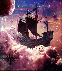 On Course to Auriga (violscraper) Tags: clouds stars boat ship space nebula planet sail weathervane compass oars photoshopcontest foxfur rubyblossom