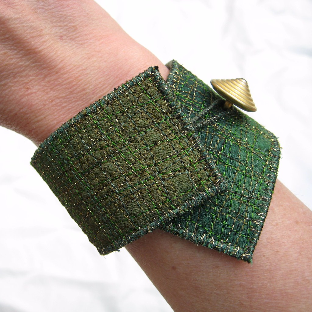 Japanese Garden Embroidered Cuff Bracelet