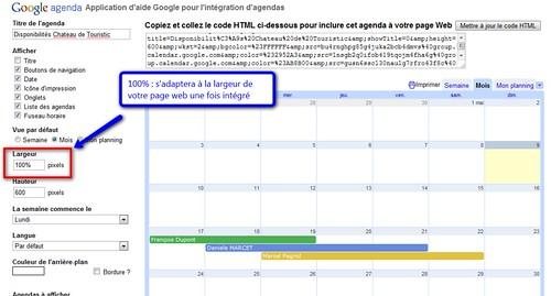 google agenda personnalisation de l'intégration