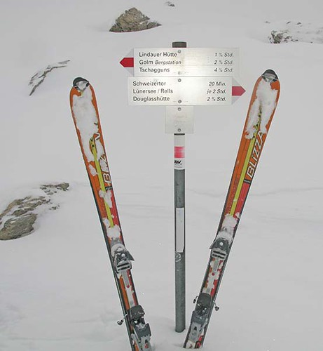 signpost in the snow