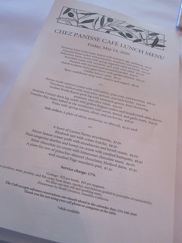 The menu at Café Chez Panisse